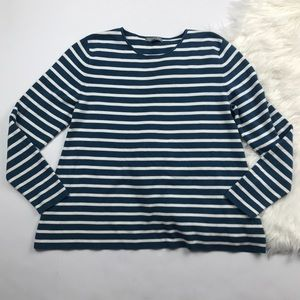 COS Blue and White Striped Nautical Crew Neck Top